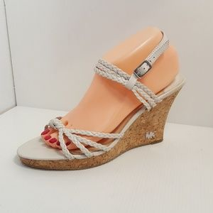 Michael kors White Leather Strappy Wedge Sandals